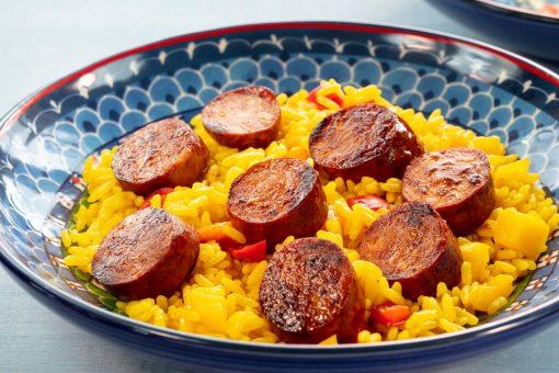 Prepped Chorizo Sausage with Rice Josef's Artisan Meats