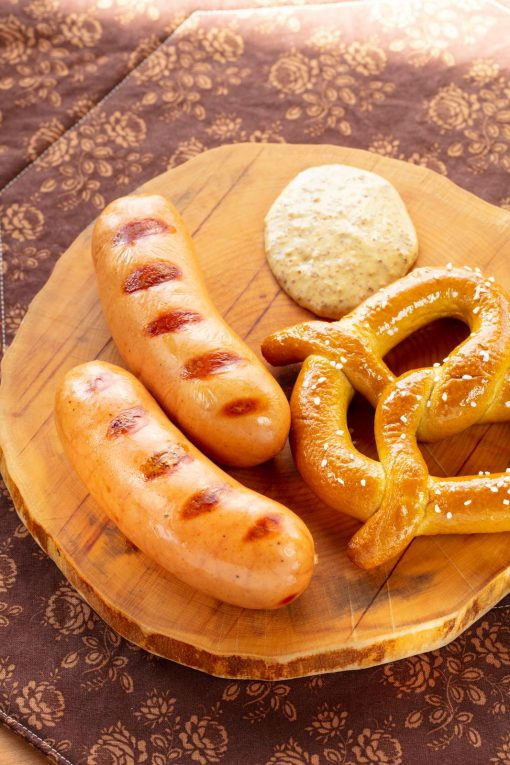 Knackwurst Sausage Prepped with Pretzel Josef's Artisan Meats